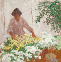 Fine Art - Painting, American:Modern  (1900 1949)  , DONALD STANLEY VOGEL (American, 1917-2004). Tending to theGarden. Oil on masonite. 24 x 24 inches (61.0 x 61.0 cm).Sig...