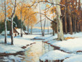 Paintings, ROBERT WILLIAM WOOD (American, 1889-1979). Snowy Creek at Sunset. Oil on canvas. 18 x 24 inches (45.7 x 61.0 cm). Signed...