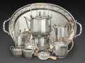 Silver Holloware, Continental, AN EIGHT PIECE VIENNESE TEA AND COFFEE SERVICE, Austria, circa1930. Marks: (W-toucan-4), 800, (head in profile). 8 inch...(Total: 8 Items)