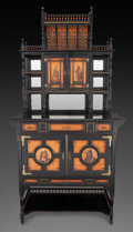 Furniture : English, A VICTORIAN AESTHETIC MOVEMENT EBONIZED AND PAINTED MAHOGANY CABINET, in the manner of Thomas Edward Collcutt, (English, 184...