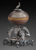 Silver Holloware, Continental:Holloware, AN AUSTRALIAN SILVER AND EMU EGG PRESENTATION BOX, circa 1850. 12inches high (30.5 cm). ...