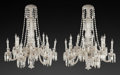 Decorative Arts, French:Lamps & Lighting, A PAIR OF BACCARAT CHANDELIERS, Baccarat, France, 20th century. 36inches high x 30 inches diameter (91.4 x 76.2 cm). ... (Total: 2Items)