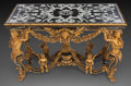 Furniture , A FRENCH RÉGENCE-STYLE GILT WOOD AND MARBLE INLAID SALON TABLE, 19th century. 34 x 56 x 30 inches (86.4 x 142.2 x 76.2 cm). ...