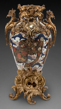 A JAPANESE PORCELAIN VASE WITH GILT BRONZE MOUNTS 40 x 24 x 16 inches (101.6 x 61.0 x 40.6 cm)  From a Dalla