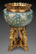 Asian:Chinese, A MONUMENTAL CHINESE CLOISONNÉ JARDINIÈRE WITH GILT BRONZE MOUNTSAND STAND, Qing dynasty. Marks to stand: 18. 43-1/2 in...(Total: 2 Items)