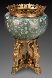 A MONUMENTAL CHINESE CLOISONNÉ JARDINIÈRE WITH GILT BRONZE MOUNTS AND STAND, Qing dynasty Marks to stand:...
