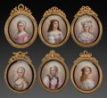 Decorative Arts, Continental:Other , SIX FRENCH PORCELAIN AND GILT BRONZE FRAMED MINIATURE PORTRAITS,19th century. 5-3/4 inches high (14.6 cm) (largest). From...(Total: 6 Items)