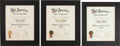 "Autographs:Others, 1937-39 All-America Baseball Team Certificates Presented to Charles""Red"" Ruffing Lot of 3...."