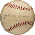 "Autographs:Baseballs, Late 1930's Mordecai ""Three Finger"" Brown Single Signed Baseball...."