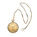 Timepieces:Pocket (post 1900), Magestic 14k Gold Watch & Chain 17 Jewels . . ...