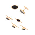 Estate Jewelry:Cufflinks, Gentleman's Black Onyx, Gold Dress Set. ...