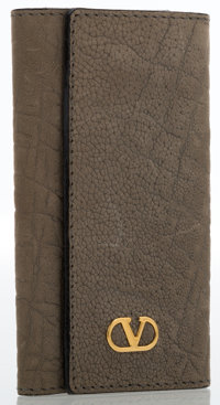 Valentino Gray Suede Key Wallet