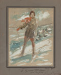 Works on Paper, EVERETT SHINN (American, 1876-1953). Susanne Humphreys on Skis, 1931. Watercolor and pencil on paper laid on cardboa...