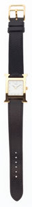 Luxury Accessories:Accessories, Hermes Gold H Hour MM Watch with Black Veau Graine Lisse LeatherStrap. ...