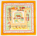 "Luxury Accessories:Accessories, Hermes 90cm Orange & White ""Retour a la Terre,"" by Oliver Dumas Silk Scarf. ..."