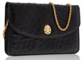 Luxury Accessories:Bags, Celine Black Ostrich Evening Bag with Gold Chain Strap. ...