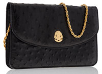 Celine Black Ostrich Evening Bag with Gold Chain Strap