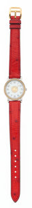 Luxury Accessories:Accessories, Hermes Gold & Stainless Steel Sellier Watch with Rouge VifOstrich Strap. ...