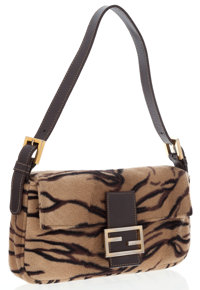 Fendi Beige & Brown Tiger Felt Baguette Bag