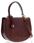 Luxury Accessories:Bags, Bally Brown Crocodile Top Handle Bag with Shoulder Strap . ...