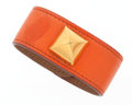 Luxury Accessories:Accessories, Hermes Orange H Swift Leather Medor Bracelet with Gold Hardware....