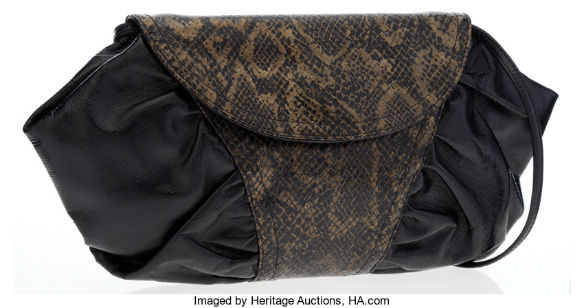 7cd8a8401d5 Luxury Accessories:Bags, Fendi Olive Green & Black Python Embossed  Shoulder ...