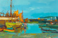 Fine Art - Painting, European:Contemporary   (1950 to present)  , NICOLA SIMBARI (Italian, 1927-2012). Waiting at the Harbor. Oil on canvas. 31-1/2 x 47-1/4 inches (80.0 x 120.0 cm). Sig...
