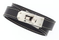 Luxury Accessories:Accessories, Hermes Black Courchevel Leather Kelly Double Tour Bracelet withPalladium Hardware. ...