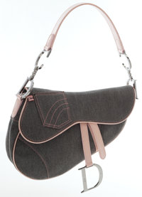 Christian Dior Pink Patent Leather & Gray Denim Saddle Bag