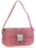 Luxury Accessories:Bags, Givenchy Pink Python Shoulder Bag with Silver Hardware. ...