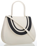 Luxury Accessories:Bags, Charles Jourdan Black & White Leather Top Handle Bag. ...