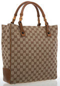 Luxury Accessories:Bags, Gucci Classic Monogram Canvas & Bamboo Tote Bag. ...