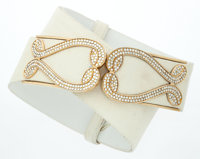 Judith Leiber White Karung Belt with Gold & Crystal Hardware