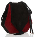 Luxury Accessories:Bags, Yves Saint Laurent Black & Red Suede Shoulder Bag. ...