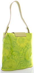 Luxury Accessories:Bags, Salvatore Ferragamo Green Vinyl & Floral Canvas Shoulder Bag....