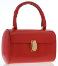 Luxury Accessories:Bags, Loewe Red Leather Small Top Handle Bag . ...