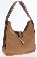 Luxury Accessories:Bags, Gucci Beige Leather & Brown Canvas Shoulder Bag. ...
