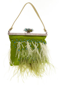 Valentino Green Satin & Feather Beaded Evening Bag