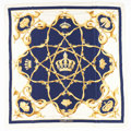 """Luxury Accessories:Accessories, Hermes 90cm Gold, Navy Blue & White """"Couronnes,"""" by Julia Abadie Silk Scarf. ..."""