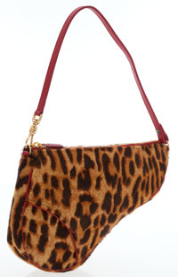 Christian Dior Leopard Print Ponyhair & Red Leather Saddle Bag
