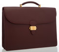 Luxury Accessories:Bags, Cartier Burgundy Leather Briefcase Bag . ...