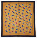Luxury Accessories:Accessories, Gucci Navy Blue & Gold Bird Silk Scarf . ...