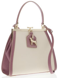 Kieselstein Cord Purple Leather & White Canvas Top Handle Bag