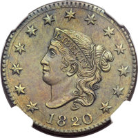 1820 1C Large Date, N-13, R.1, MS64 Brown NGC. Our EAC Grade MS60....(PCGS# 36673)