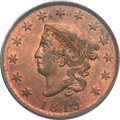 1819 1C Small Date, N-9, R.1, MS63 Red and Brown PCGS. Gold CAC. Our EAC Grade MS64....(PCGS# 36653)