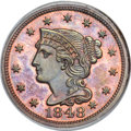 Proof Large Cents, 1848 1C N-19, High R.5, PR64 Red and Brown PCGS. CAC. Our EAC GradePR64....