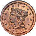 Proof Large Cents, 1856 1C Slanted 5, N-5, Low R.5, PR66 Red and Brown NGC. Our EACGrade PR63....