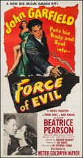 "Movie Posters:Film Noir, Force of Evil (MGM, 1948). Three Sheet (40.5"" X 78.5""). Film Noir....."