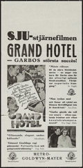 "Movie Posters:Academy Award Winners, Grand Hotel (MGM, 1932). Swedish Insert (12"" X 25.25""). AcademyAward Winners.. ..."