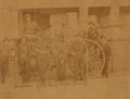 Books:Photography, Early Image of Eight Firemen in Front of Their Fire Engine. Ca. late-19th century. Measures 7 x 5.5 inches. The names of th...